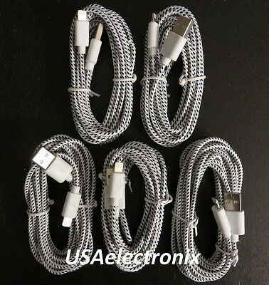 5x 10Ft Long Braided 8 pin to USB Charger Cable For iphone 5 5C 5S iphone 6 #20