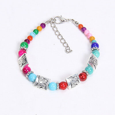 NEW  fashion Colorf butterfly Tibetan silver beaded bracelet gift of love S27D