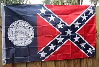 WHOLESALE LOT OF 12 3x5 GEORGIA REBEL CONFEDERATE FLAGS STATE USA POLY US