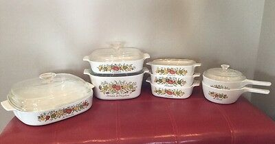 Huge Lot Vintage Corning Ware Spice Of Life Dishes, Casserole, Saucepan, Pan