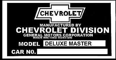 1937 1938 1939 1940 1941 1946  DELUXE  MASTER CHEVY CAR INFO DATA ID PLATE