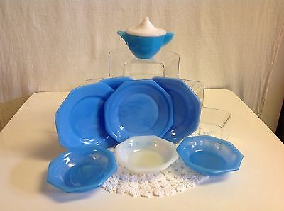 AKRO AGATE GLASS CHILDRENS DOLL DISHES 9 OCTAGONAL MIXED PIECES