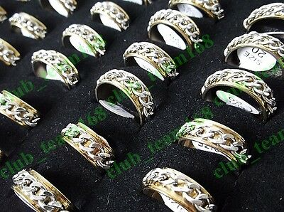 Wholesale Lots 40Pcs Gold&Silver Tone Rotate Stainless Steel Chain Man Rings NEW