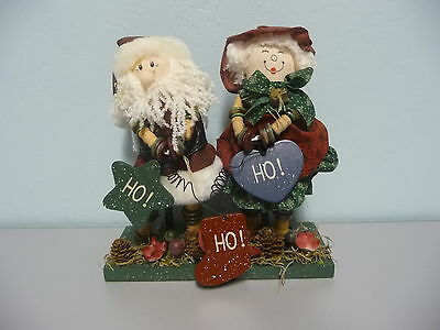Festive Handcrafted Button Mr. & Mrs. Santa Claus Christmas Decoration