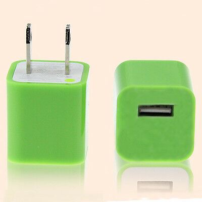 Green USB AC Power Adapter Wall Charger Plug iPhone 3GS 4 4S iPod iTouch USA US