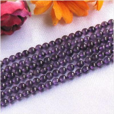4mm Natural Amethyst Round Gemstone Beads 15.5In Strand