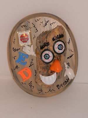 """Art Wall Wood Plaque Crazy Ed Driftwood Face No Farting Zone 9""""x11"""" Handcrafted"""
