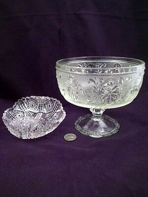 Two Pieces EAPG: Glass Pedestal Footed Bowl, Sandwich Pattern, Small Dish