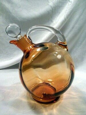 Decanter, Cambridge Tilt Ball, Labeled, Amber, Clear Handle, Stoppered, Marked