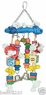 Large Parrot Activity Toy - Colourful Wooden Blocks, Rope And Rawhide (Bt-B007)