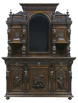 19TH CENTURY PROFUSELY CARVED OAK BUFFET SIDEBOARD