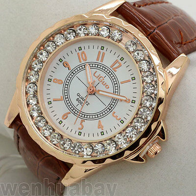 Classic Round Dial Crystal Girl Lady Leather Quartz WristWatch Women Gifts Q1133