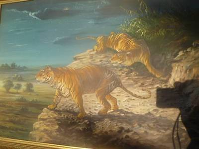 Most Amazing Vintage 1958 Signed Tiger Oil Painting on eBay! Must see! Framed!