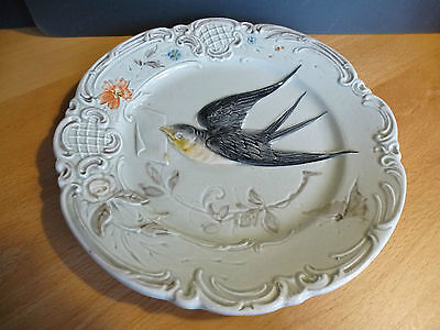 """Antique Majolica plate  16,5 cm / 6 1/2 """"  swallow with letter lovebird"""