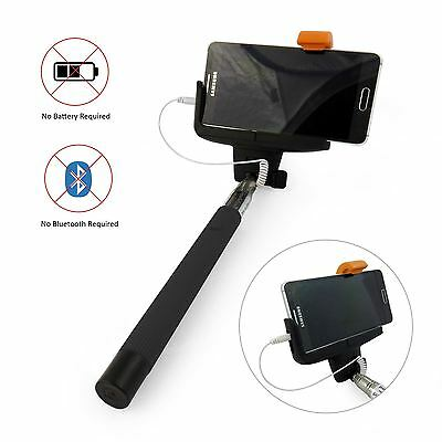 New Black Wired Monopod Selfie Stick Audio Cable Remote Camera Holder iPhone 5 6
