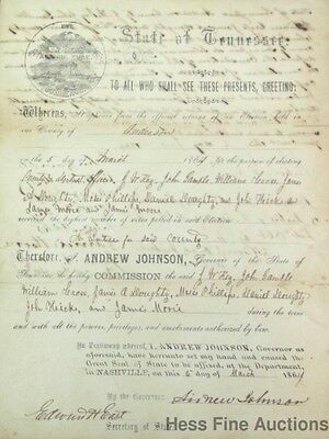 Genuine Andrew Johnson Autograph Civil War Era Document Signed by Many Tennessee