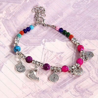 HOT Free shipping New Tibet silver multicolor jade turquoise bead bracelet S135D