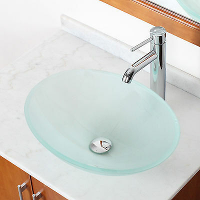 Tempered Bathroom Oval Frosted Glass Vessel Sink & Chrome Faucet Combo