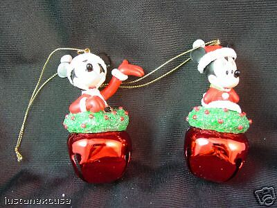"""Mickey & Minnie Mouse Bell Christmas Ornaments 3"""" tall 2 Pc Set Disney Store"""