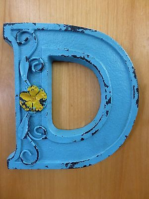 "BLUE CAST IRON WALL LETTER ""D"" 6.5"" TALL rustic vintage decor sign barn nursery"
