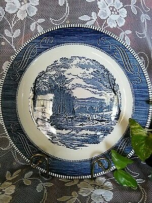 """CURRIER & IVES ROYAL CHINA 12 1/4"""" ROUND SERVING PLATTER GETTING ICE BLUE WHITE"""