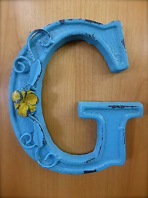 "BLUE CAST IRON WALL LETTER ""G"" 6.5"" TALL rustic vintage decor sign child nursery"