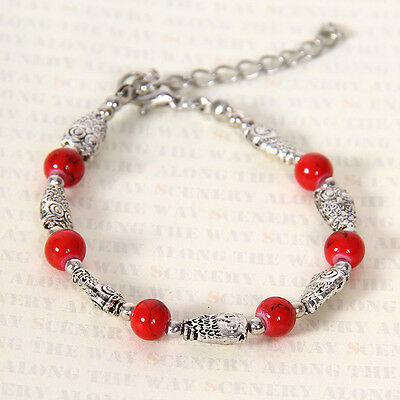 HOT Free shipping New Tibet silver multicolor jade turquoise bead bracelet S114D