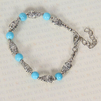 HOT Free shipping New Tibet silver multicolor jade turquoise bead bracelet S113D