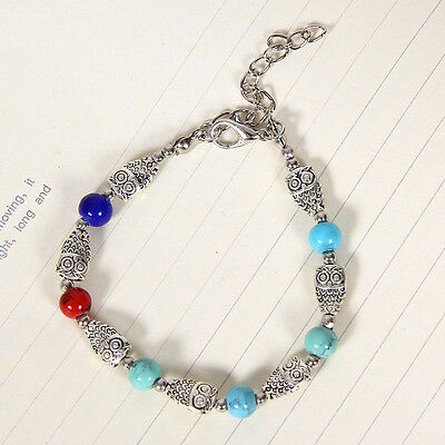 HOT Free shipping New Tibet silver multicolor jade turquoise bead bracelet S112
