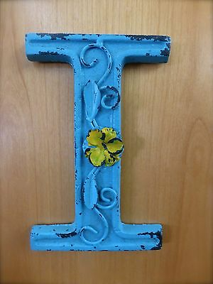 "BLUE CAST IRON WALL LETTER ""I"" 6.5"" TALL rustic vintage decor sign child nursery"