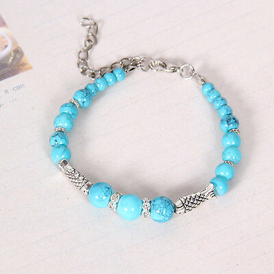 HOT Free shipping New Tibet silver multicolor jade turquoise bead bracelet S105D