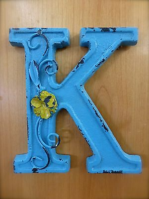 """BLUE CAST IRON WALL LETTER """"K"""" 6.5"""" TALL rustic vintage decor sign child nursery"""