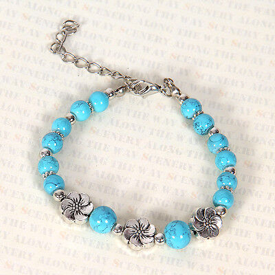 HOT Free shipping New Tibet silver multicolor jade turquoise bead bracelet S102D