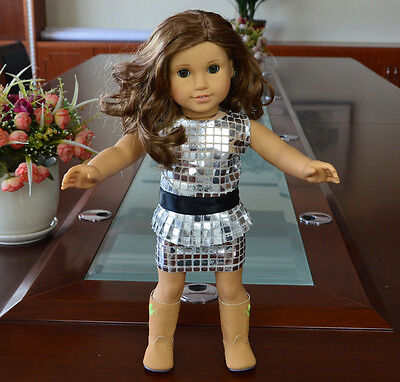 "Doll Clothes fits 18"" American Girl Handmade Silver Party Dress"