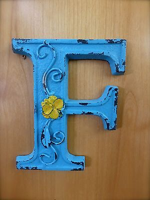 "BLUE CAST IRON WALL LETTER ""F"" 6.5"" TALL rustic vintage decor sign child nursery"