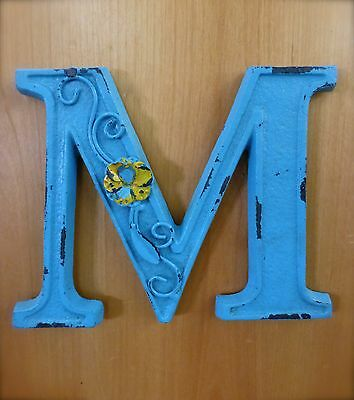 "BLUE CAST IRON WALL LETTER ""M"" 6.5"" TALL rustic vintage decor sign child nursery"