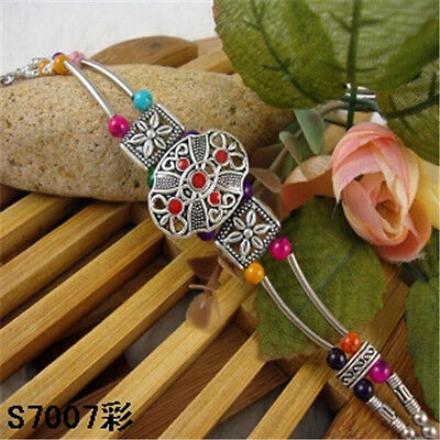 HOT Free shipping New Tibet silver multicolor jade turquoise bead bracelet S77D
