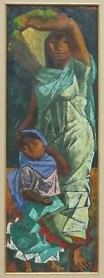"HUMBERTO ORAMAS - MEXICAN ARTIST - OIL ON CANVAS - SIGNED - ""MOTHER AND CHILD"""