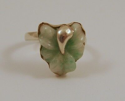 Antique Chinese Export Sterling Silver Carved Jade Iris Flower Ring Unique
