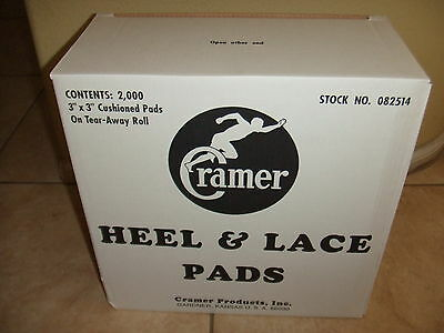 "NEW BOX of 2,000 Cramer Heel & Lace Pads 3"" x 3"" on Tear-Away Roll 082514"