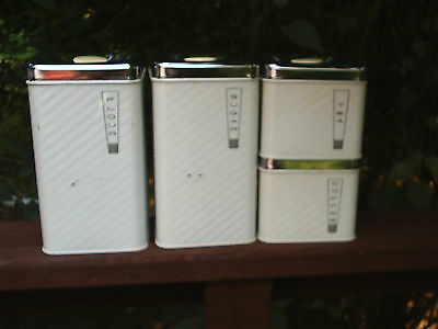 Vtg Lincoln BeautyWare Canisters White Silver Lids Flour Sugar Coffee Tea Retro!