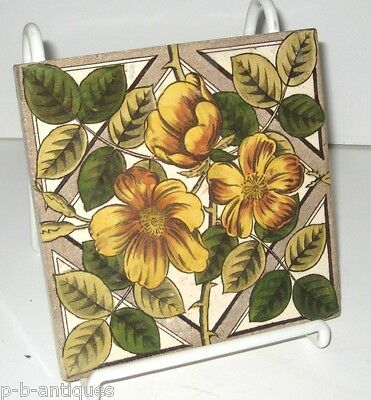 Antique Tile Floral Aesthetic Movement c 1890s Orange Yellow Brown & Green