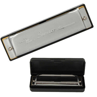 New 2015 Swan Contemporary Harmonica 10 Holes Key of G with Case Silver Color