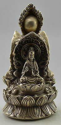 Collectible Decorated Old Handwork Tibet Silver Buddha Kwan-yin Tang Monk Statue