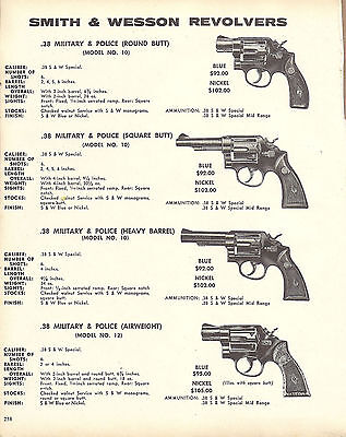 1973 SMITH & WESSON Model 10 Military & Police REVOLVER AD 4 models shown