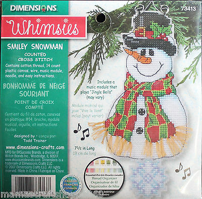 DIMENSIONS SMILEY SNOWMAN COUNTED CROSS STITCH MUSICAL ORNAMENT KIT #73413