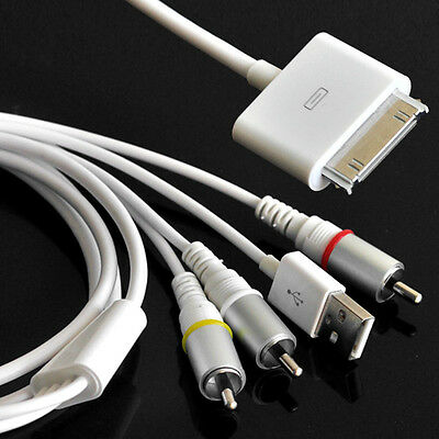 AV Composite Video to TV-RCA Cable USB for Apple iPad 1 iPad 2 iPhone iPod HOT