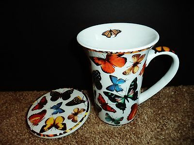 PAUL CARDEW BUTTERFLIES LATTE CUP WITH COASTER 14OZ. MADE IN ENGLAND