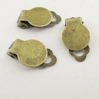 60PCS Antique Bronze Tone Iron Ear Clip Charms Craft Finding 18*10*5mm 37863