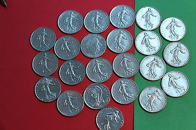 FRANCE 1 FRANC ALL DIFFERENT COINS CC35 A33